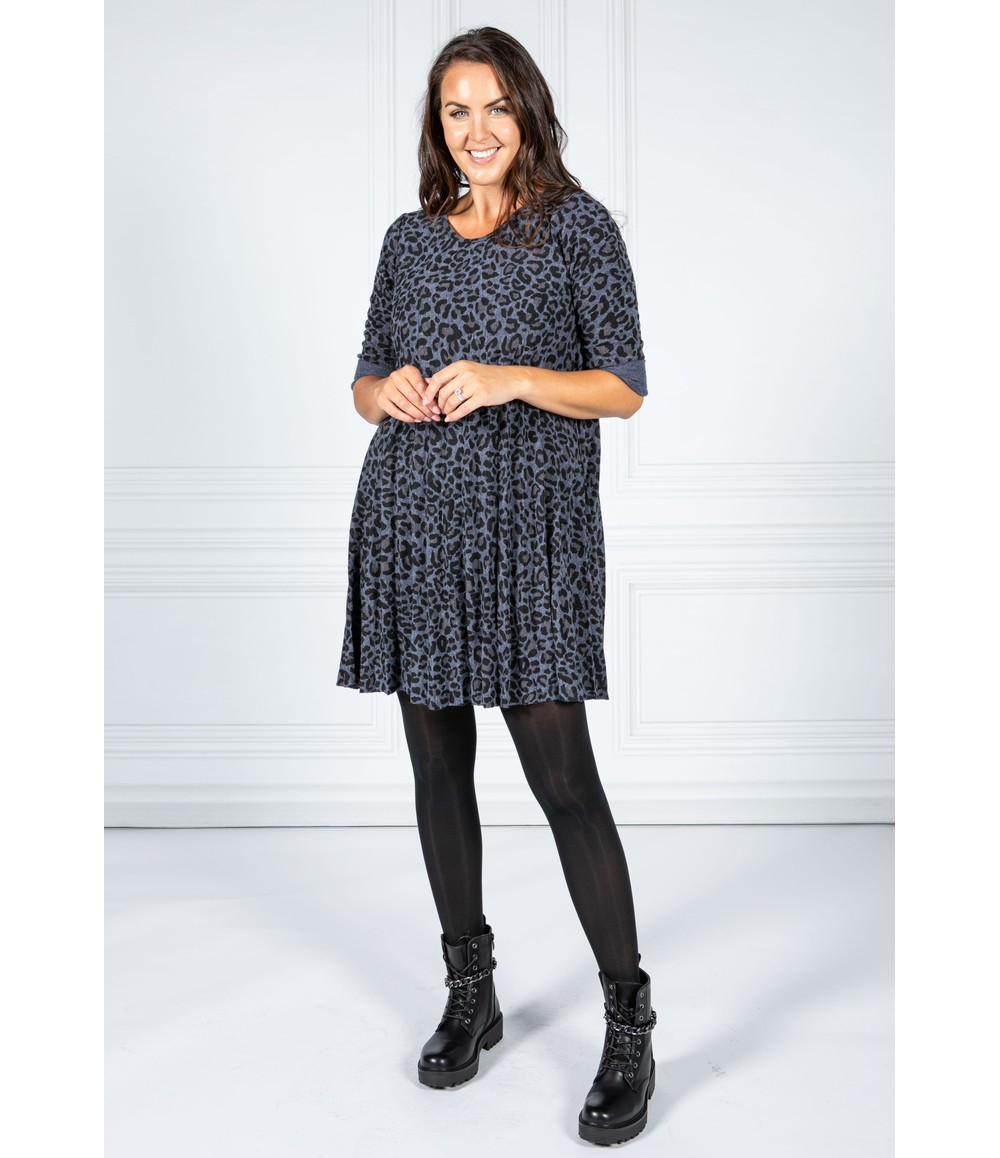 Pamela Scott Cheetah Print Dress in Night Sky