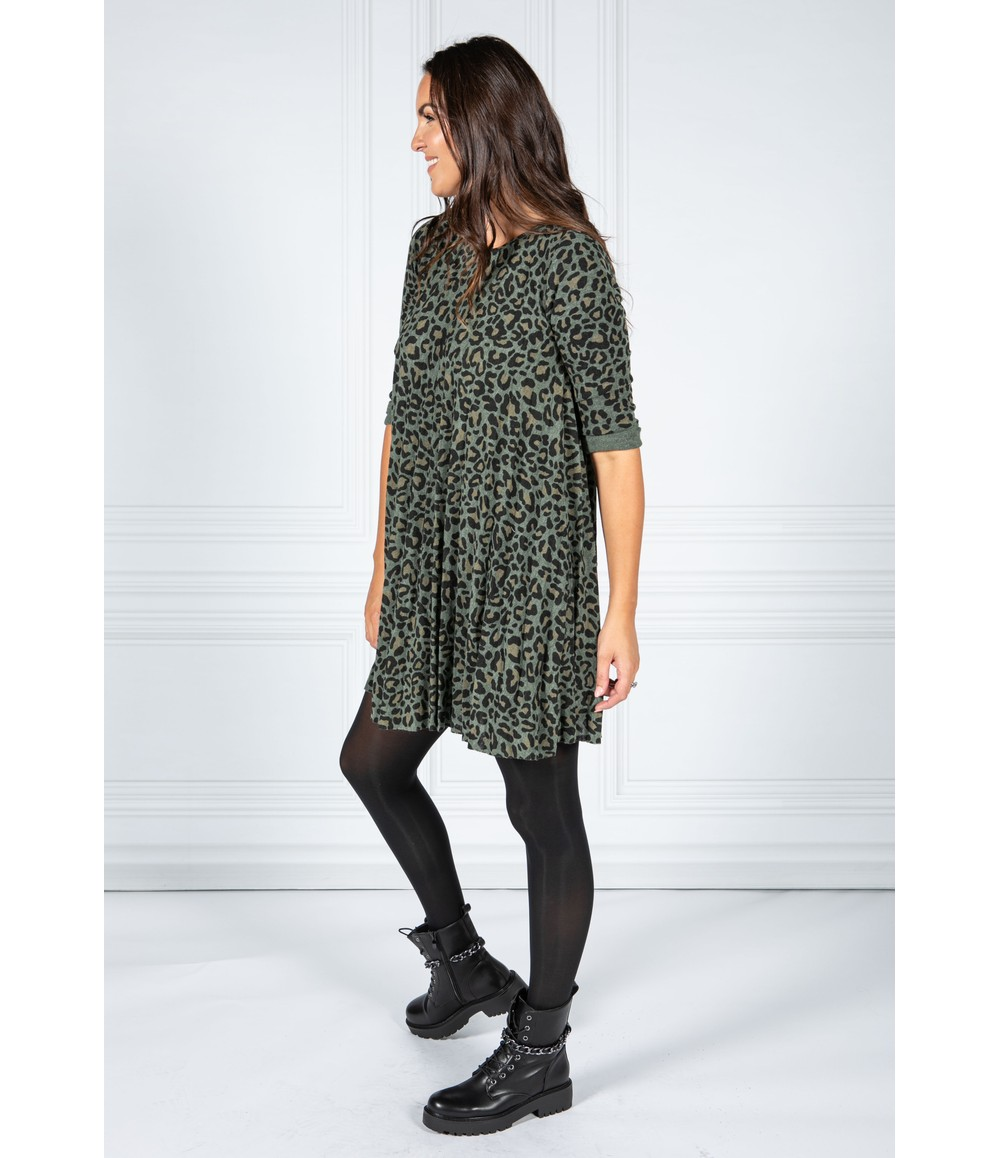 Pamela Scott Cheetah Print Dress in Moss