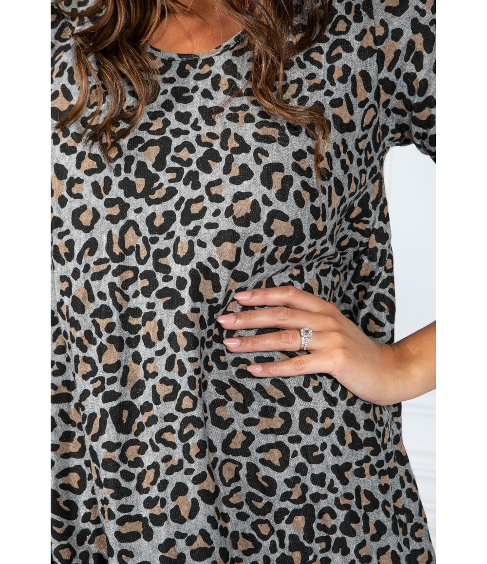 Pamela Scott Cheetah Print Dress in Light Grey