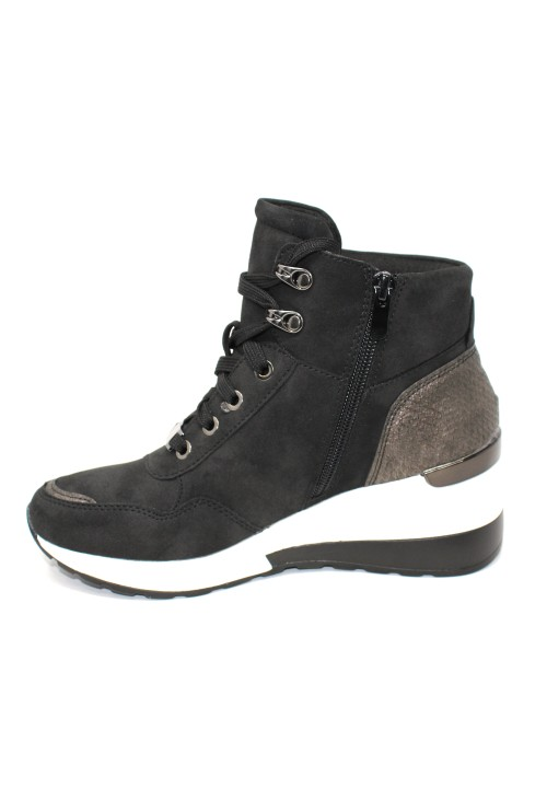 Black Hiking Look Ankle Boot