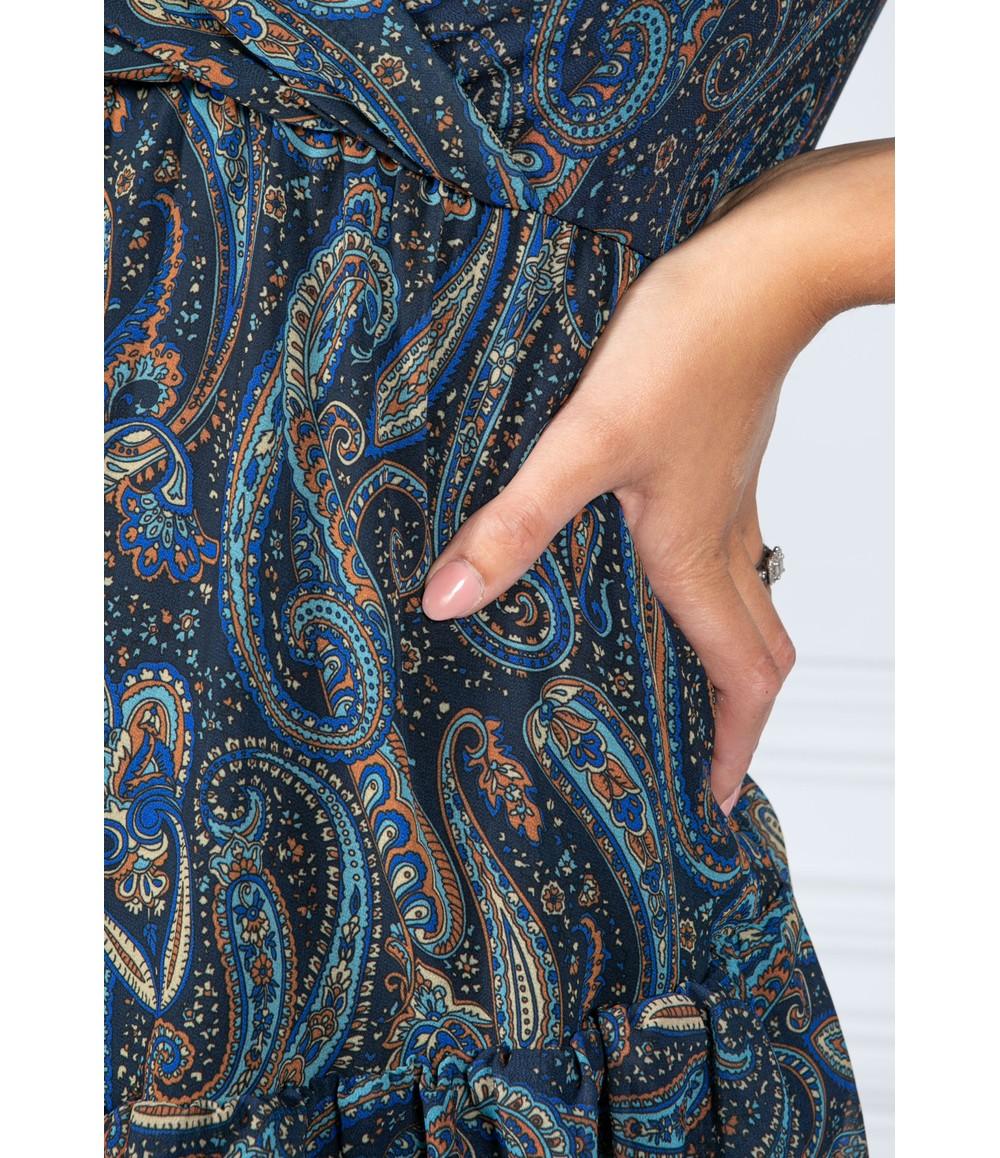 Pamela Scott Navy Paisley Print Ruffle Dress