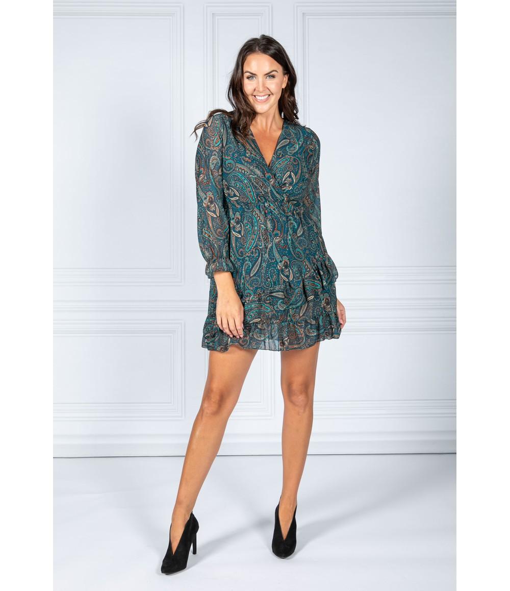 Pamela Scott Dusty Teal Paisley Print Ruffle Dress