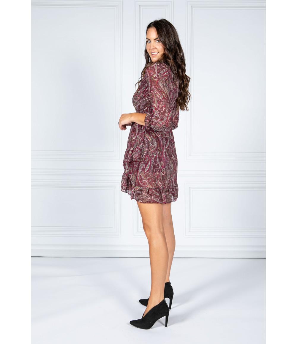 Pamela Scott Port Paisley Print Ruffle Dress