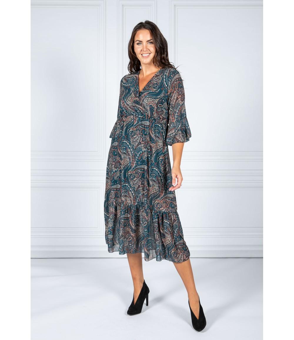 Pamela Scott Dusty Teal Paisley Midi Dress