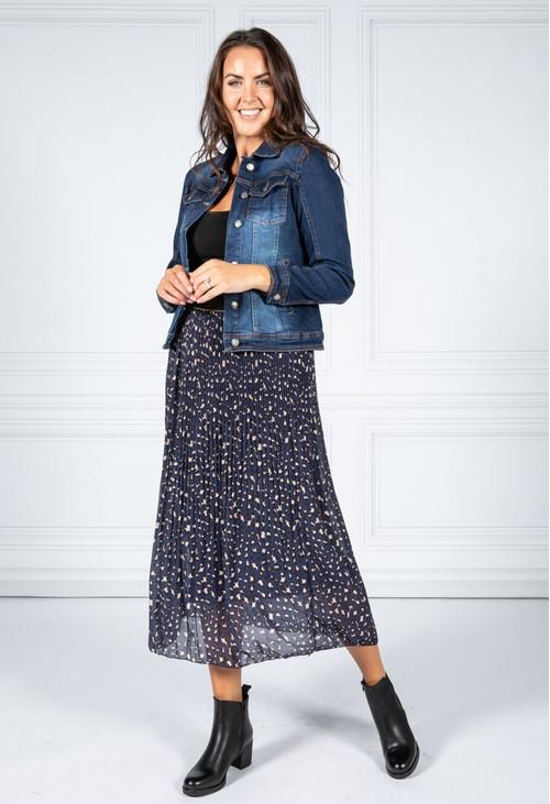 Pamela Scott Navy Pleated Leopard Print Skirt