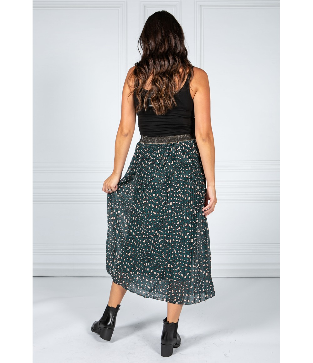 Pamela Scott Bottle Green Pleated Leopard Print Skirt