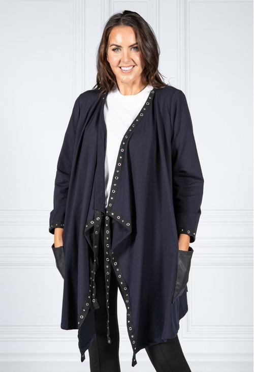 Pamela Scott Navy Studded Cardigan