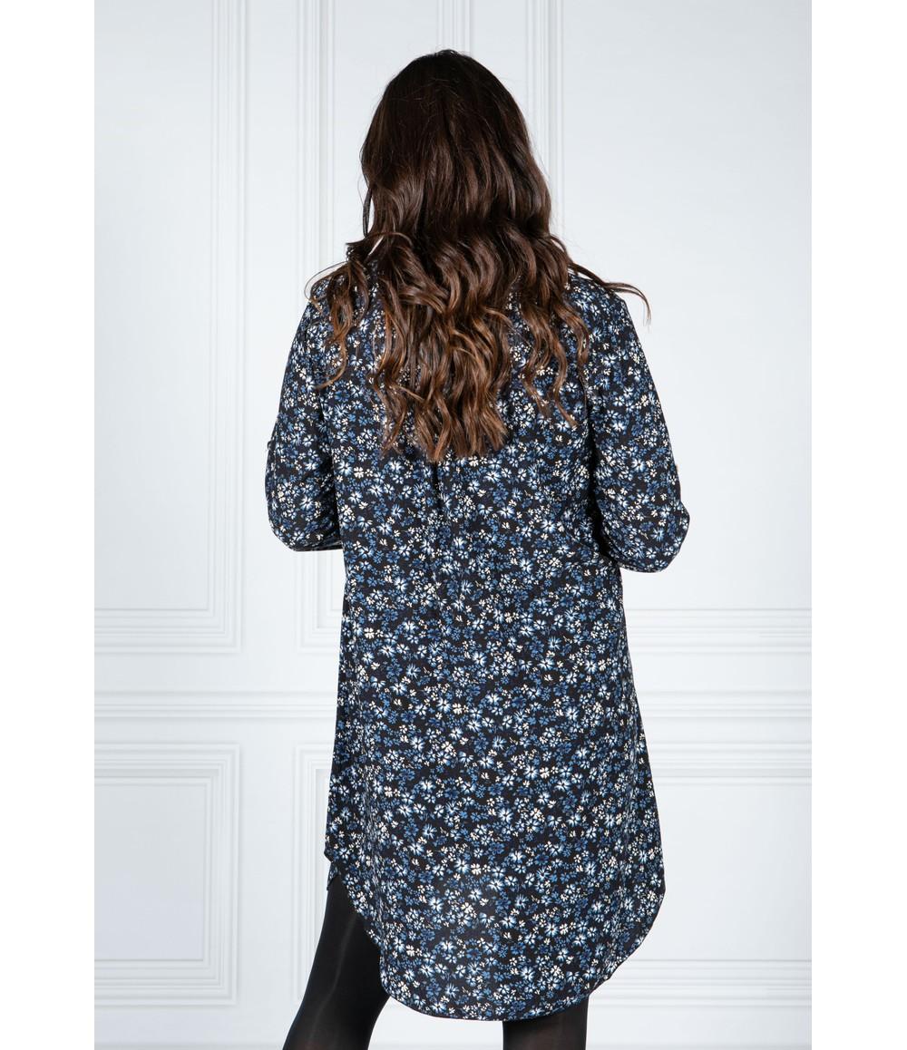 Pamela Scott BLUE FLORAL SHIRT DRESS