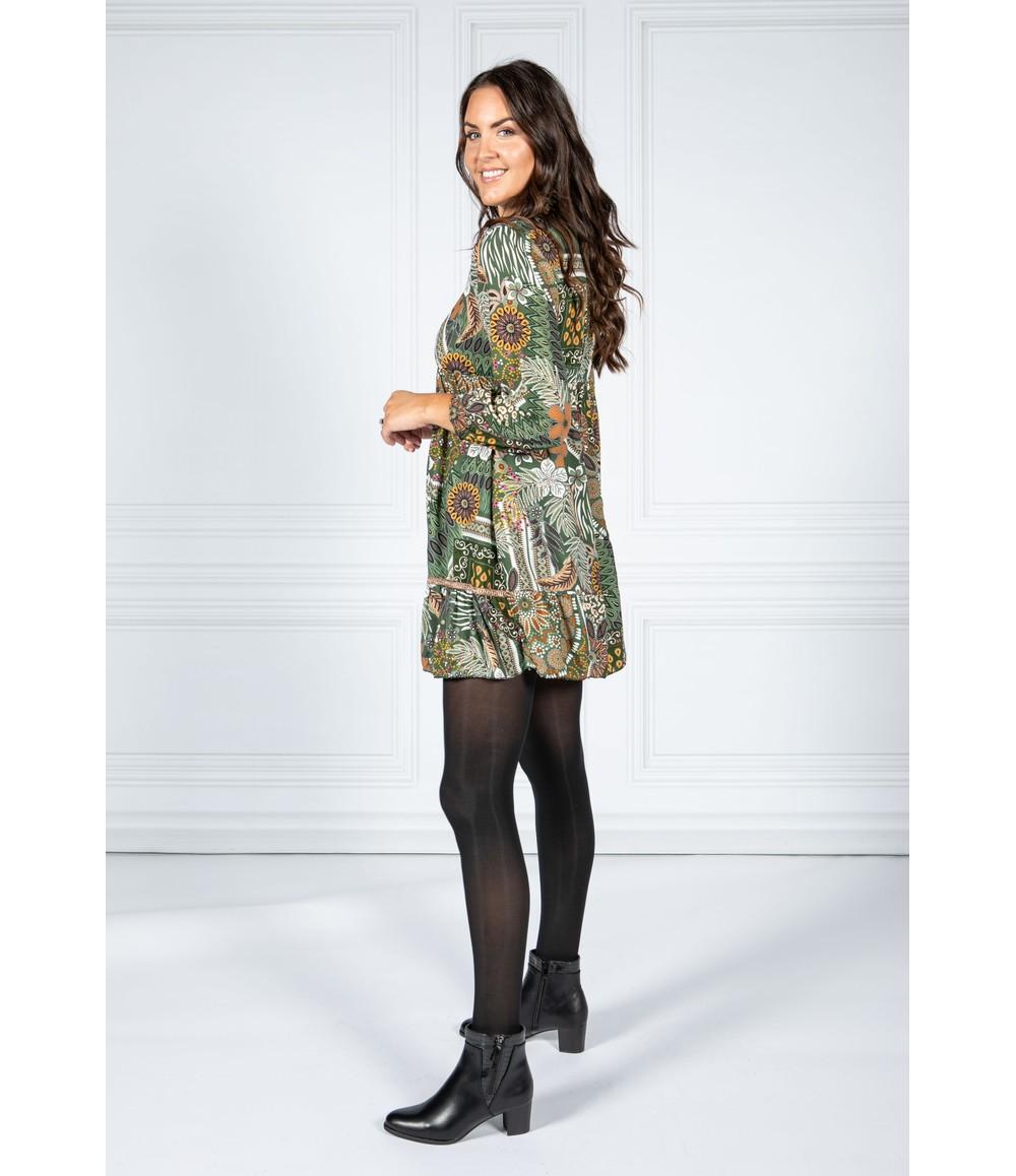 Pamela Scott VINTAGE PRINT SHIRT DRESS IN GREEN
