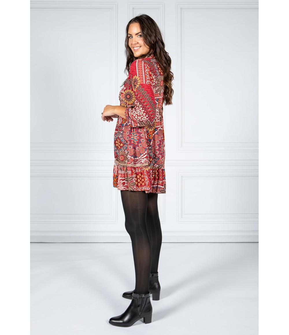Pamela Scott VINTAGE PRINT SHIRT DRESS IN RED