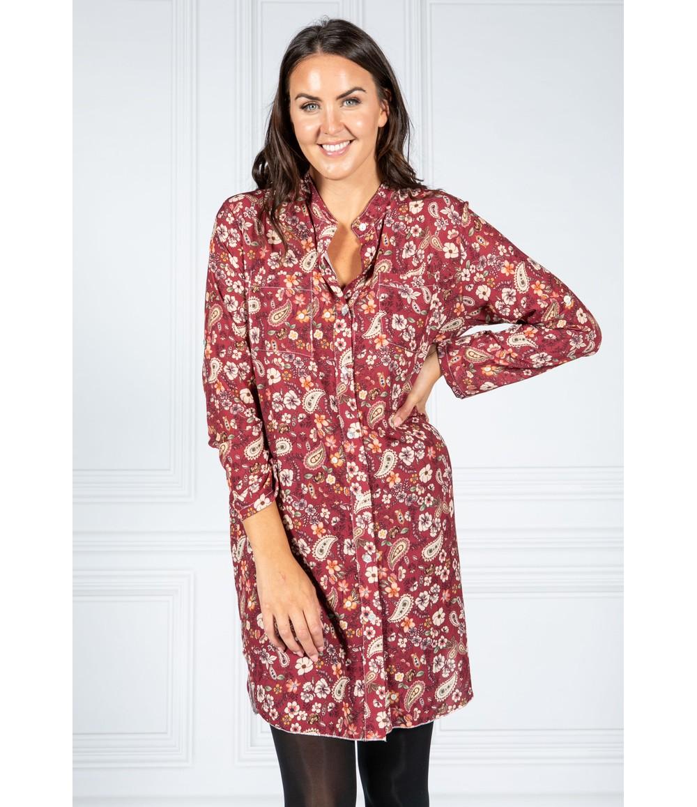 Pamela Scott PAISLEY PRINT SHIRT DRESS IN WINE
