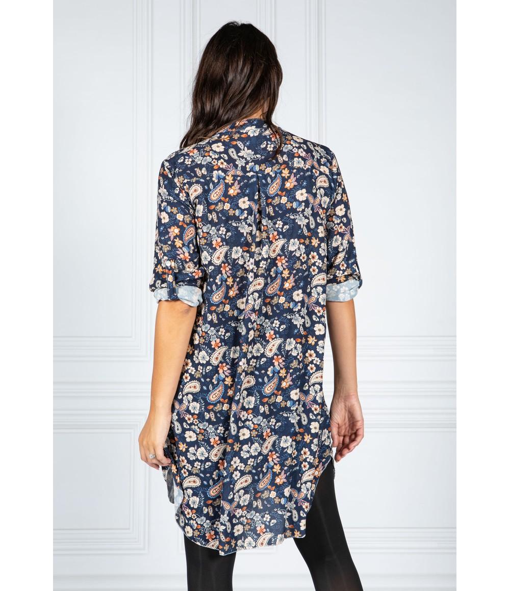 PAMELA SCOTT PAISLEY PRINT SHIRT DRESS IN NAVY