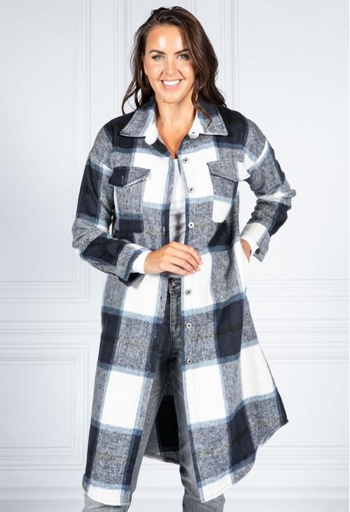 Pamela Scott Navy Checked Midi Coat
