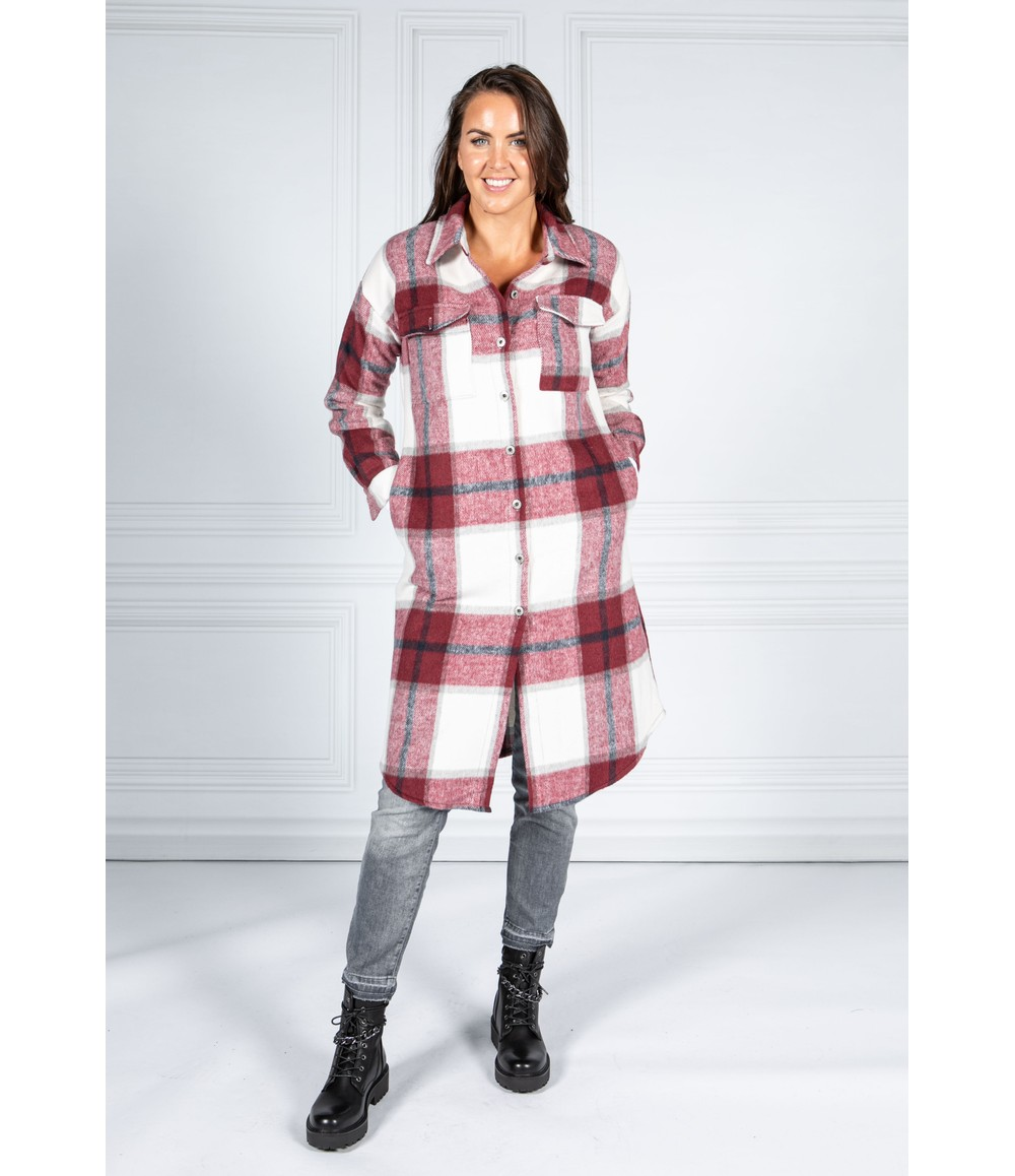 Pamela Scott Wine Checked Midi Coat