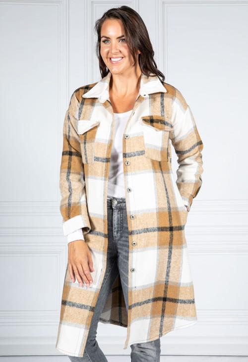 Pamela Scott Golden Brown Checked Midi Coat