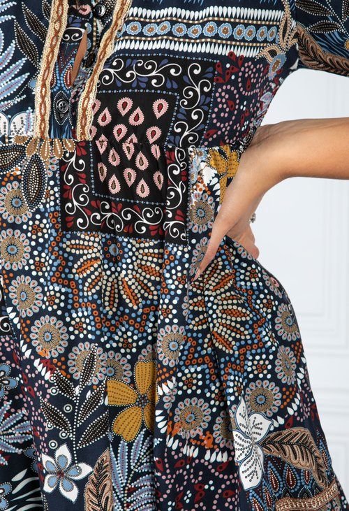 Pamela Scott VINTAGE PRINT SHIRT DRESS IN NAVY