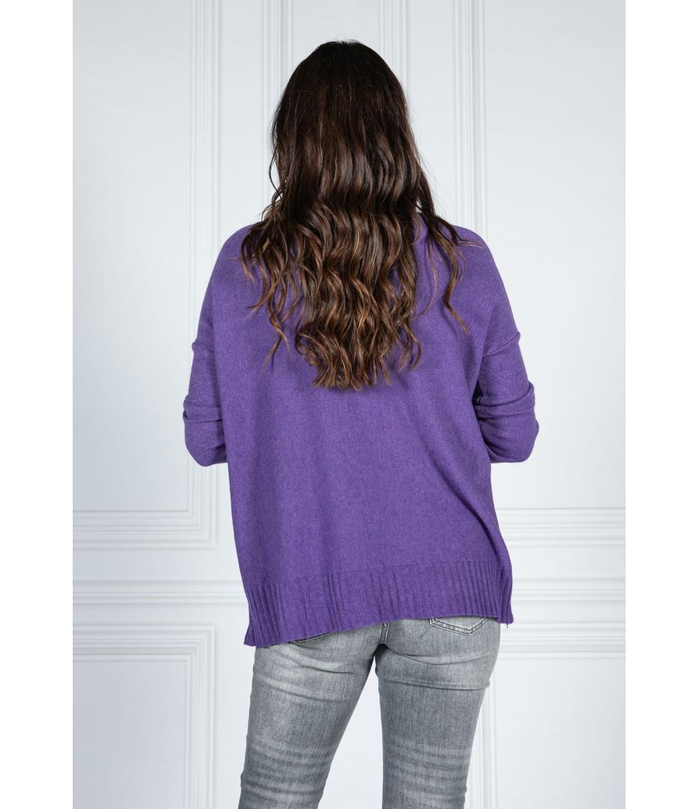 Pamela Scott Cosy Knit Pullover in Royal Purple