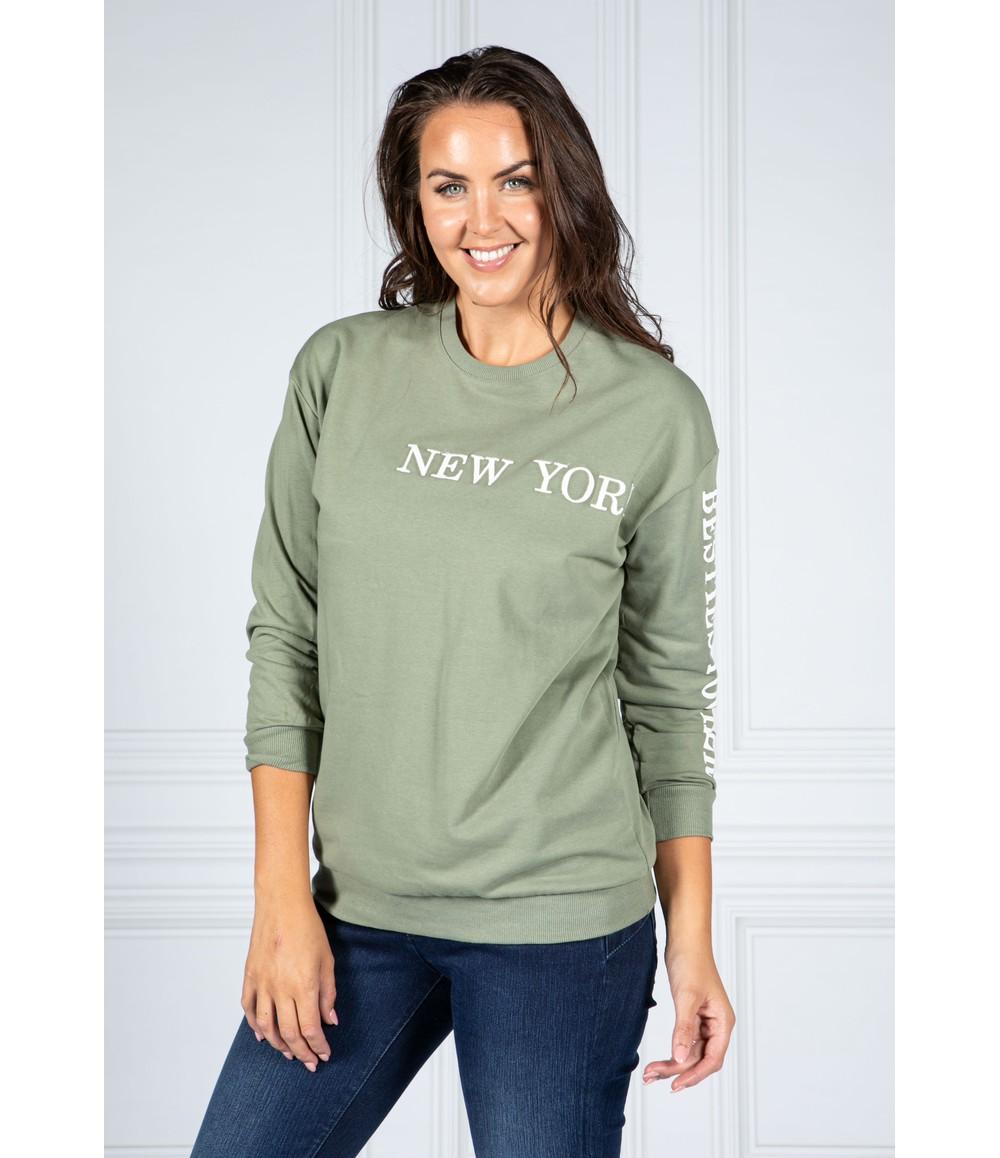 Pamela Scott NEW YORK VARSITY CREW NICK JUMPER IN MOSS GREEN