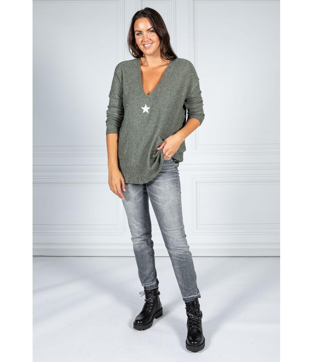 Pamela Scott Cosy Knit Pullover in Moss