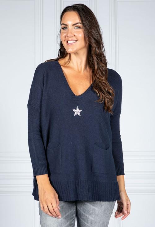 Pamela Scott Cosy Knit Pullover in Night Sky