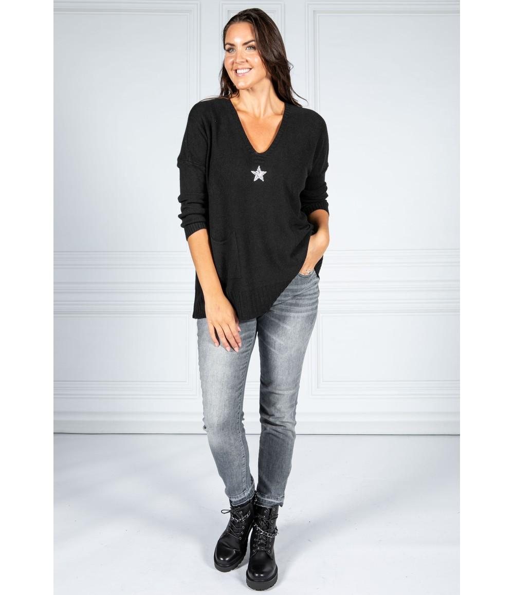Pamela Scott Cosy Knit Pullover in Black
