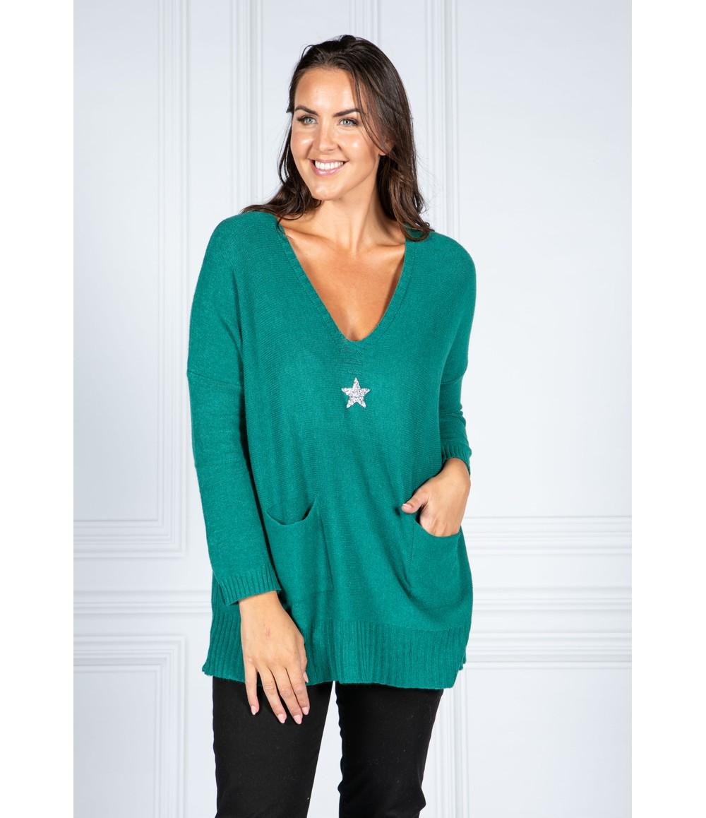 Pamela Scott Cosy Knit Pullover in Bottle Green