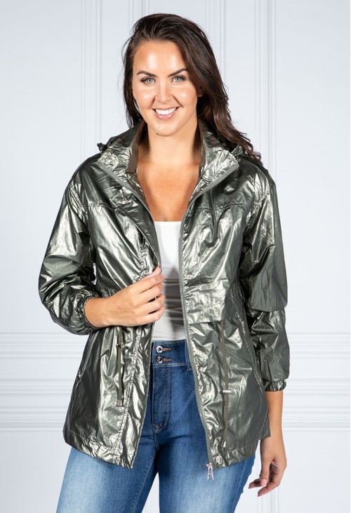 Pamela Scott Metallic Green Rain Resistant Jacket