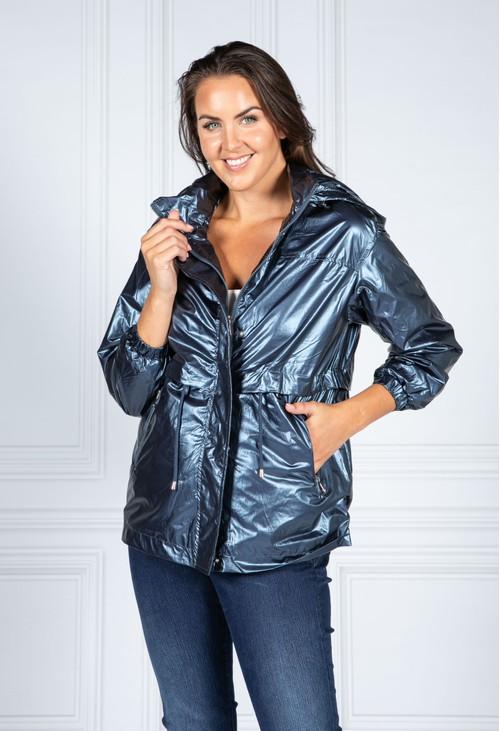 Pamela Scott Metallic Navy Rain Resistant Jacket