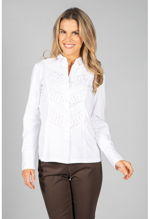 Just White Crinkle White Blouse With Print
