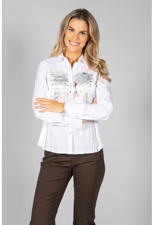 Just White Embroidered Shirt Blouse in White