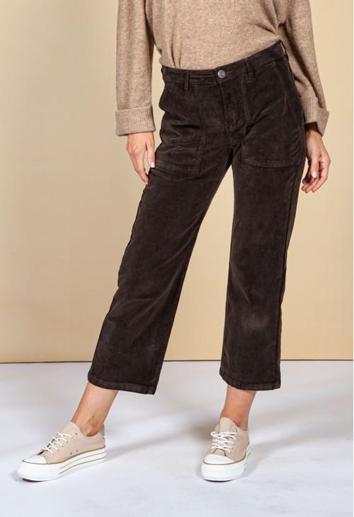 Opus Melvin corduroy trousers in truffle