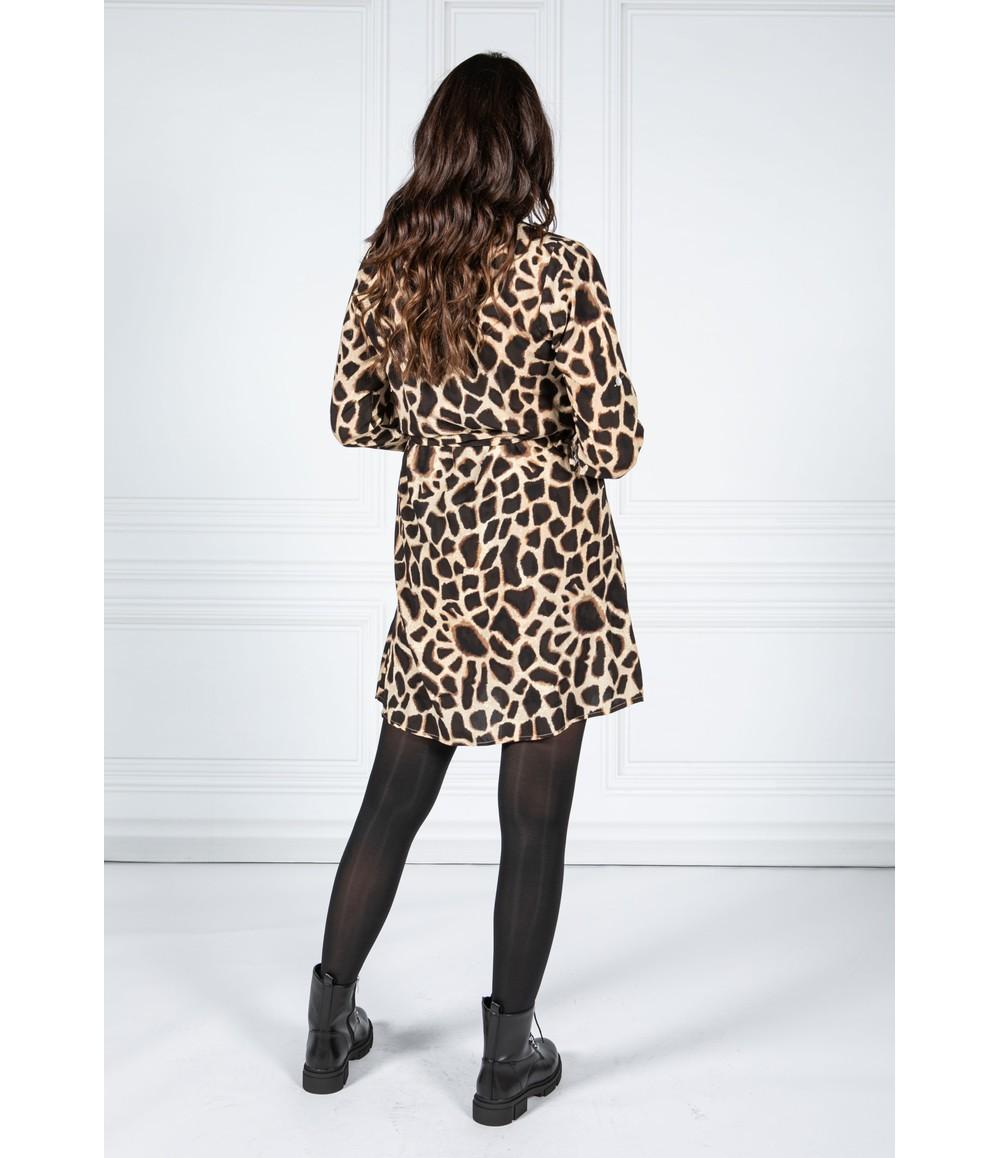 Pamela Scott GIRAFFE PRINT SHIRT DRESS