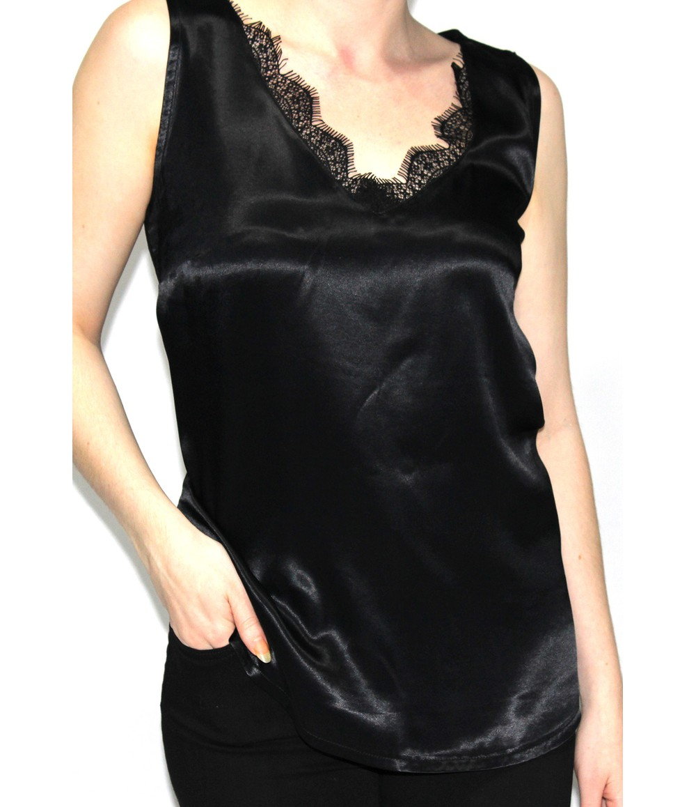 Sophie B Lace Detail Cami in Black