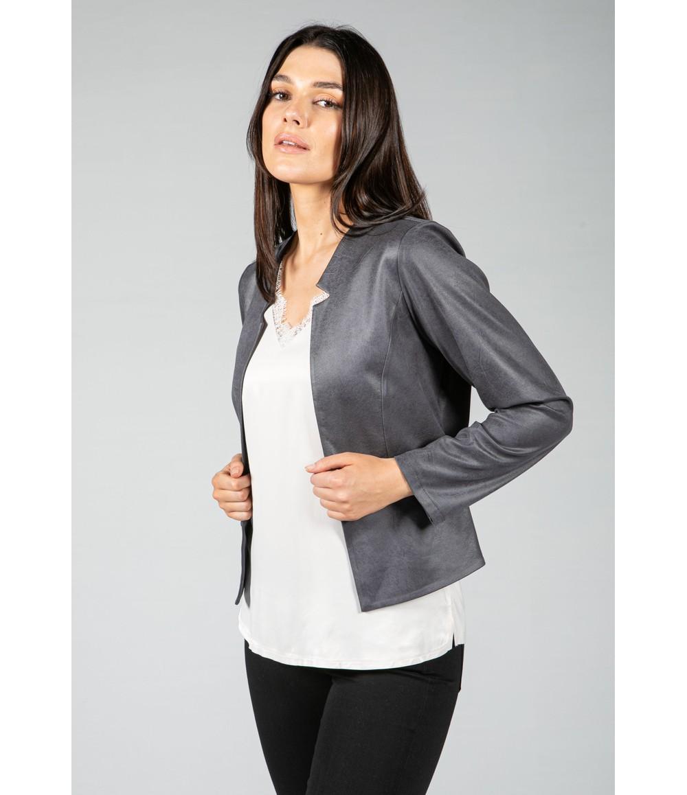 Sophie B Vintage Faux Leather Biker Jacket in Charcoal Grey