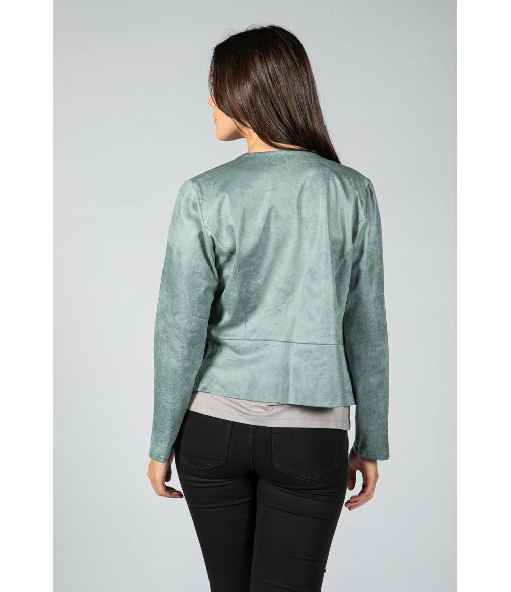 Sophie B Vintage Faux Leather Biker Jacket in Sage