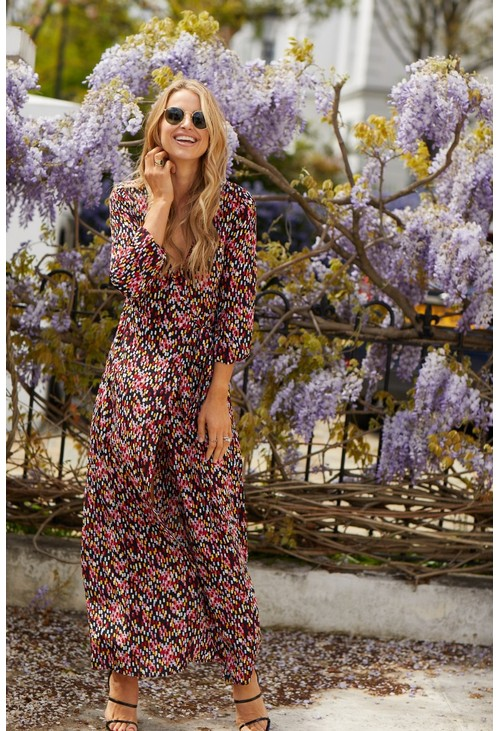 Little Mistress Vogue Williams Confetti Print Wrap Dress