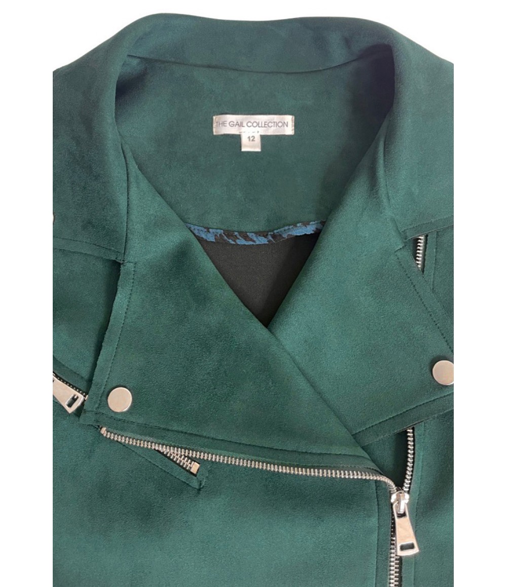 The Gail Collection BIKER Jacket in Forest Green