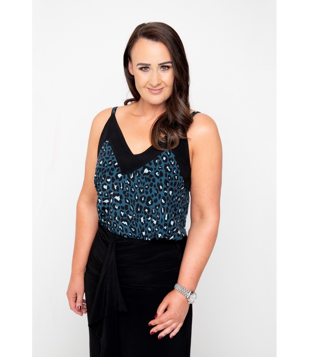 The Gail Collection printed CAMI in Forest Green