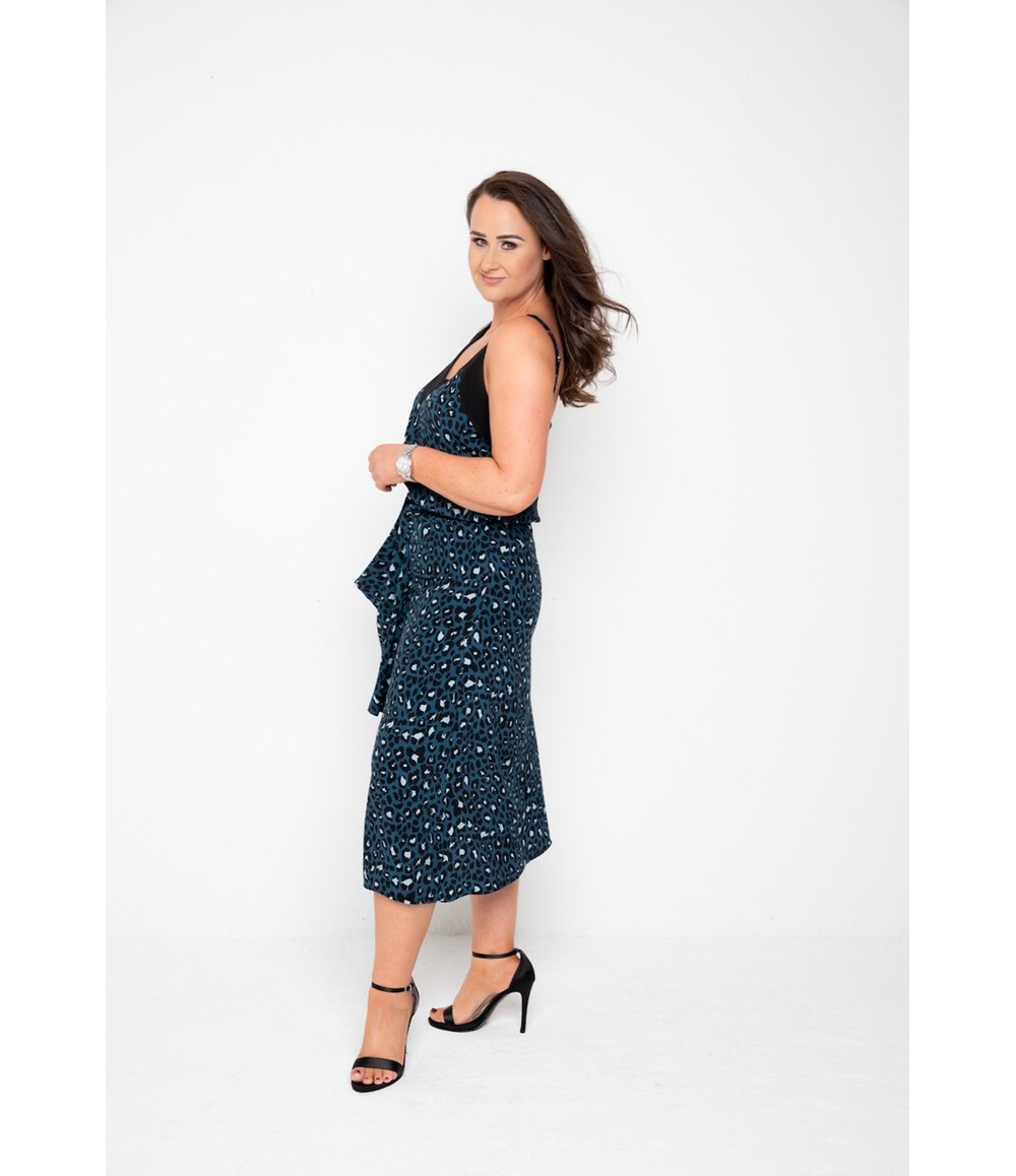 The Gail Collection Printed MIDI SKIRT In Forest Green