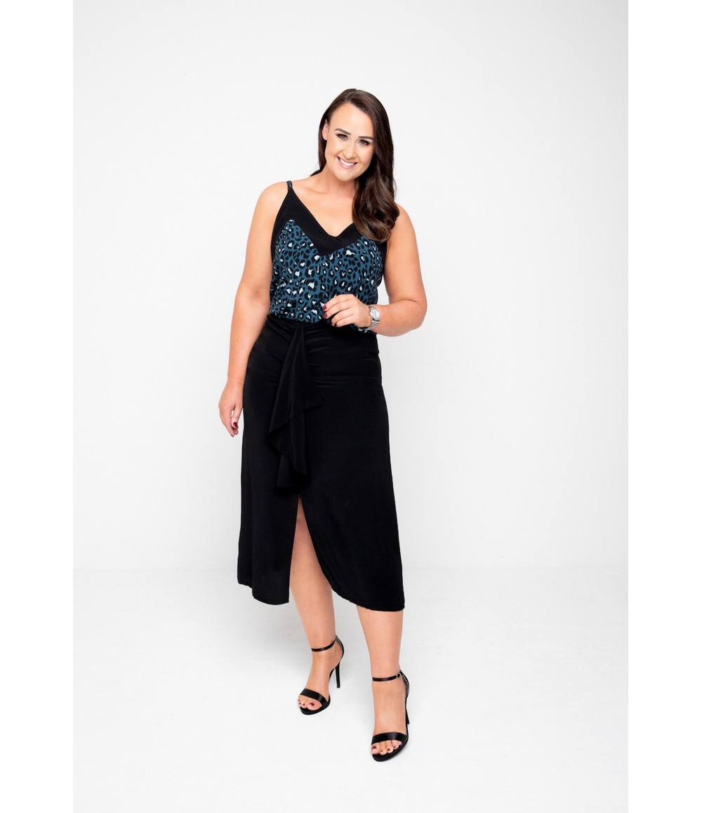 The Gail Collection MIDI SKIRT In BLACK