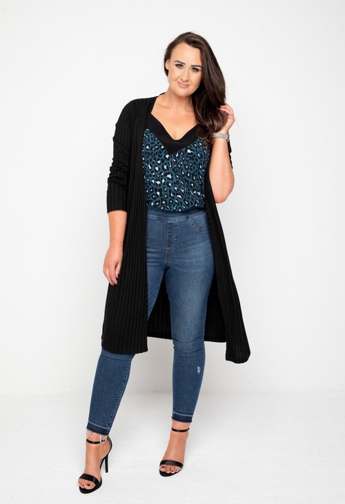 The Gail Collection LONGLINE CARDIGAN In Black