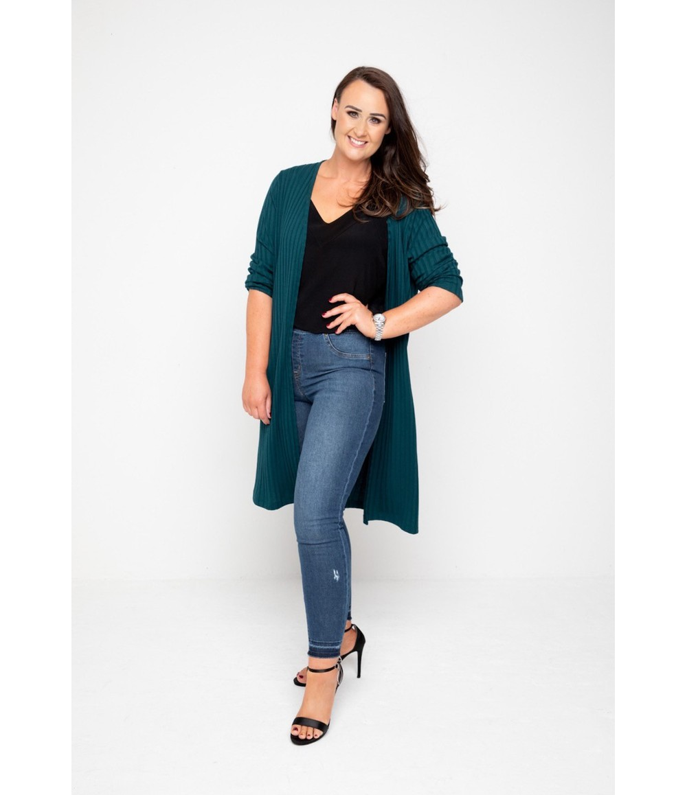 The Gail Collection LONGLINE CARDIGAN In Forest Green