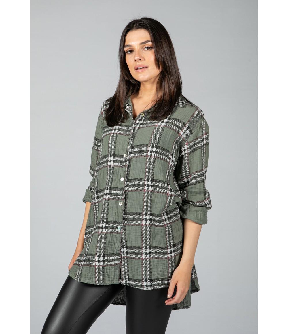 Pamela Scott Khaki Check Textured Shirt