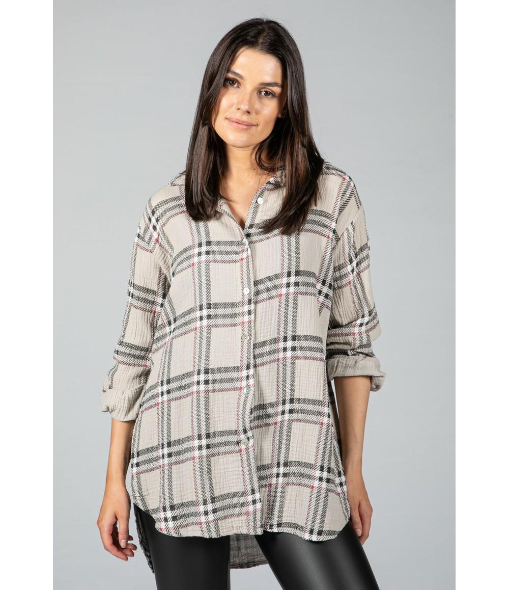 Pamela Scott Light Sand Check Textured Shirt