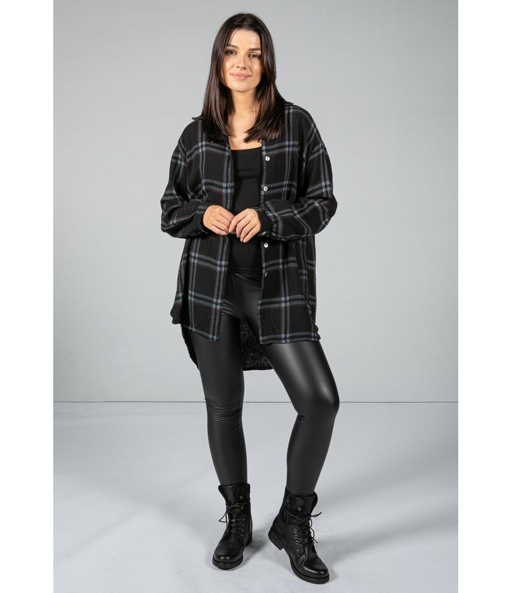 Pamela Scott Black Check Textured Shirt
