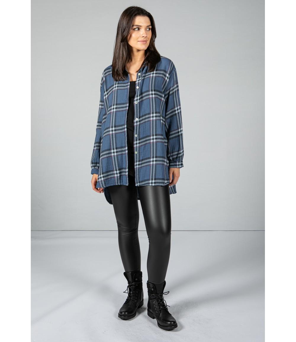 Pamela Scott Deep Blue Check Textured Shirt