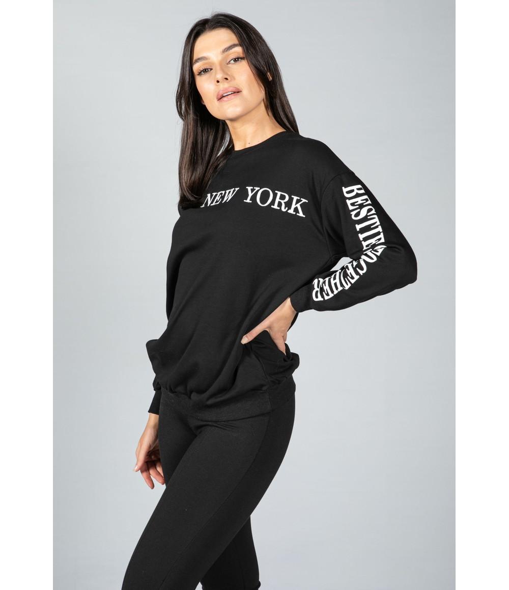 Pamela Scott NEW YORK VARSITY CREW NECK JUMPER IN BLACK