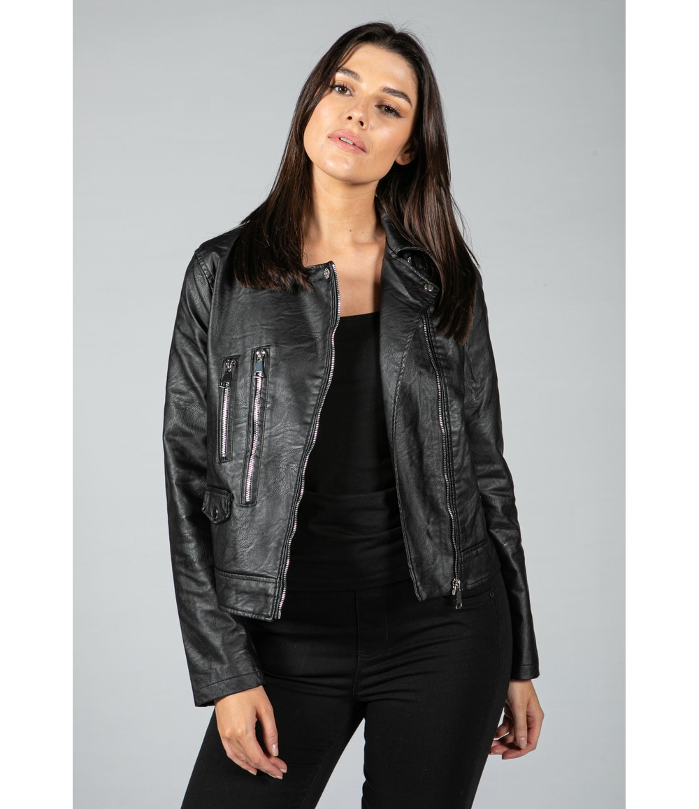 Pamela Scott Faux Leather Biker Jacket