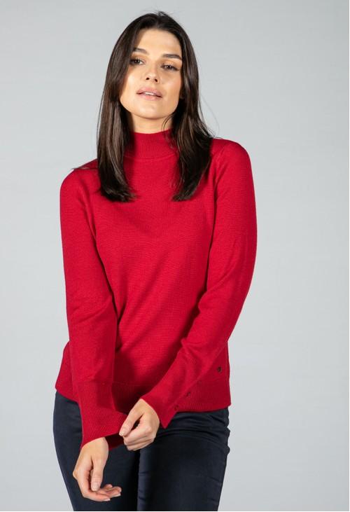 Basler Fine Knit Mock Neck Sweater in Chilli