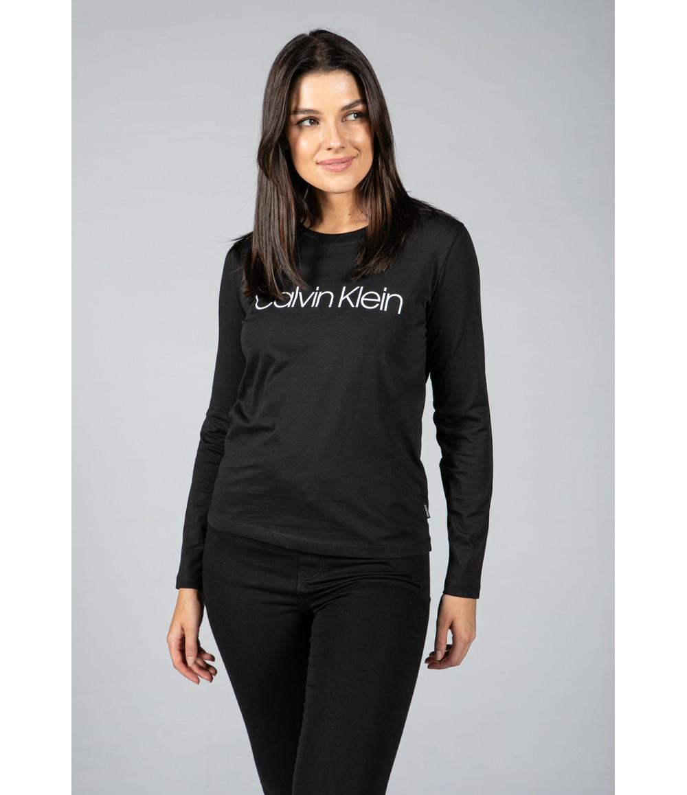 Calvin Klein Organic Cotton Long Sleeve Top in Black